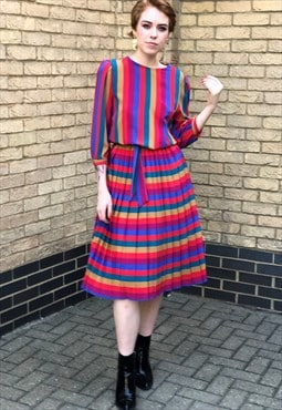 80s Vintage Berkertex Rainbow Stripe Pleated Midi Dress