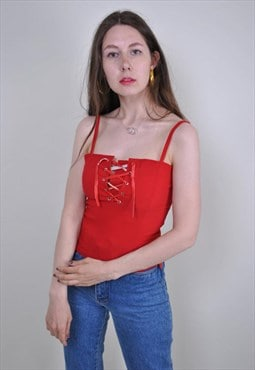 90s red sexy lace tank top, Size S