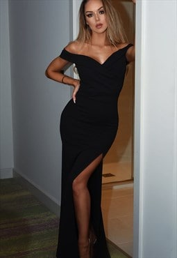 Cher Bardot Side Slit Strappy Evening Maxi Dress in Black