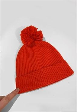 Ski Bobble Knitted Ribbed Beanie Hat - Red