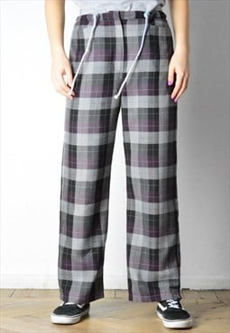 Vintage 90s Checked Grey Purple Pants