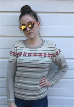 Womens Vintage 80s jumper beige nordic patterned sweater