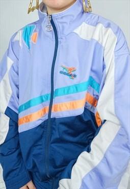 Vintage 80S 90S Diadora Tracksuit Jacket / Top / Pastel