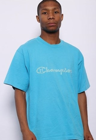 VINTAGE CHAMPION BIG SPELL OUT LOGO T-SHIRT BLUE