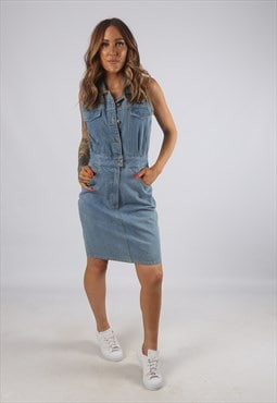 Vintage Denim Dress Fitted Sleeveless Knee Short UK 10 (AH2E