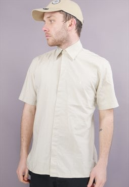 Vintage YSL Short Sleeved Shirt in Beige with Logo