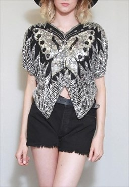 Vintage 1980's Black And Silver Sequin Butterfly Top