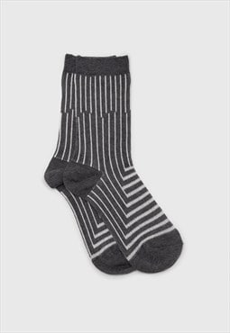 Charcoal and white geometric socks