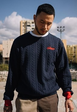 Handmade Cable Stitch Sweat in Navy with Embroidered Logo