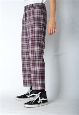 Vintage 90s UNISEX Purple Check Pants