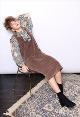 Vintage 90s Brown Cord Corduroy Midi Dress