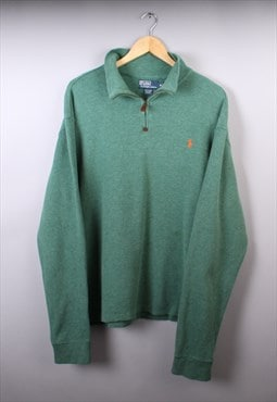 Mens Ralph Lauren Green Quarter Zip Jumper