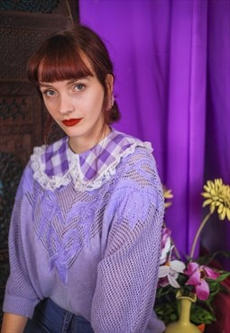 Vintage 80's lilac knit jumper & handmade detachable collar