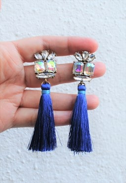Blue tassel with hold stones stud earring