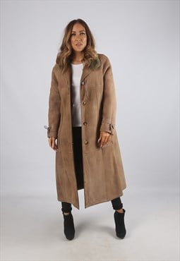 Vintage Sheepskin Suede Shearling Coat Long UK 14 (K9BK)