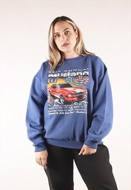 Vintage Ford Mustang Car Show Sweatshirt Blue /NN1437