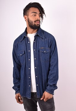 Energie Mens Vintage Denim Shirt Large Blue 90s