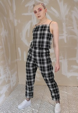 DREAMING Tartan Check Co-ordinates in B&W