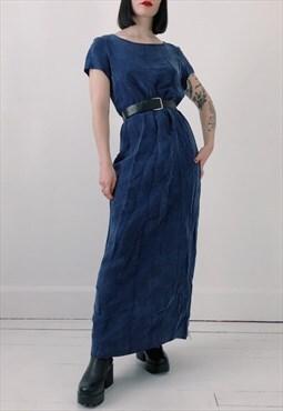 90s Vintage Navy Blue Soft Floral Maxi Long T Shirt Dress
