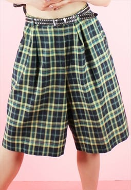 Vintage 90s Suit Shorts Tartan High Waisted Green