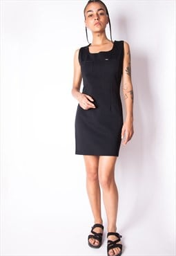 Vintage 90s Gas Black Mini Dress ID:2147