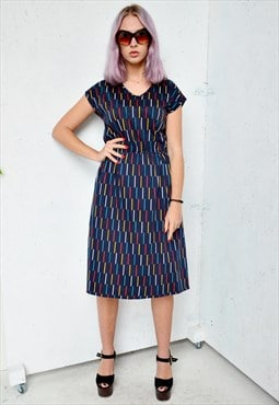 Vintage Navy Dress with Stripes