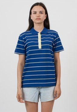 Vintage Blue HUGO BOSS Short Sleeve Striped Polo Shirt Top