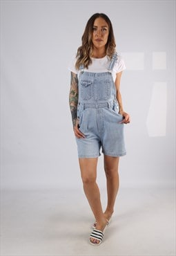 Vintage Denim Dungaree Shorts UK 10 Small (ADAA)