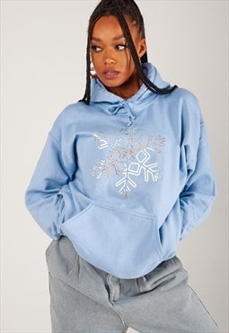 Oversized Hoodie with Christmas Snowflake in Baby Blue