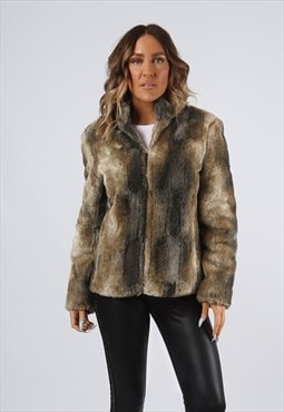Faux Fur Coat Jacket Short Vintage UK 10 (G92F)