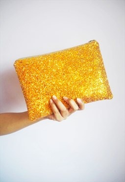 Glitter Clutch Bag in Burnt Orange