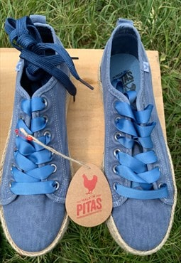 Dusty Blue Canvas Espadrilles By Walk In Pitas