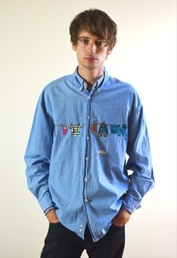1991 Vintage St Michael Blue Embroidered Shirt