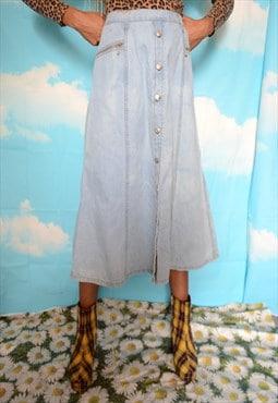 Vintage 90's Pale Blue Denim Button Up Midi Skirt