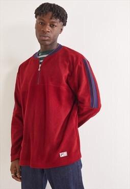 Vintage Fila 1/4 Zip Fleece Sweatshirt Red