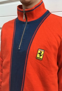 Mens Ferrari X Fila jumper blue orange quarter zip pullover