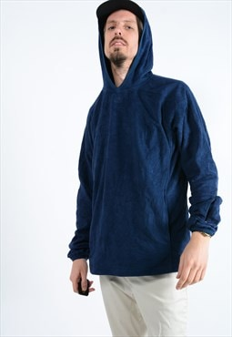 Vintage Adidas fleece in navy with hood.