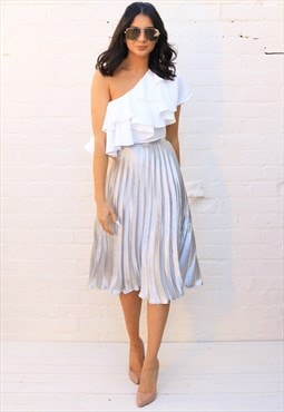 Metallic Satin Pleated High Waisted Midi Skirt in Silver