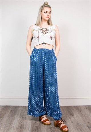 VINTAGE BLUE PATTERNED WIDE LEG SUMMER TROUSERS