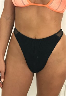 Mesh Hop Tanning Thong Bikini Brief in Black Crinkle