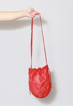Vintage 1980's Red Leather Studded Bucket Bag
