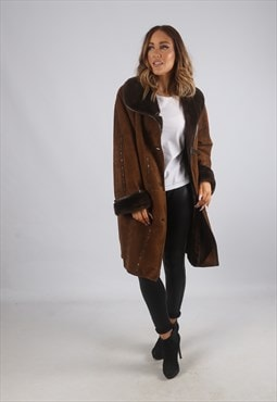 Vintage Sheepskin Suede Shearling Coat UK 16 - 18 (K9BV)