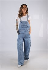 Vintage Denim Dungarees Wide Leg UK 10 Small (C3T)