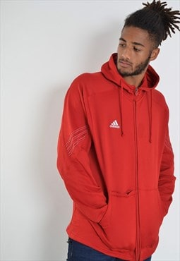 Vintage Adidas Zip Up Hoodie Red