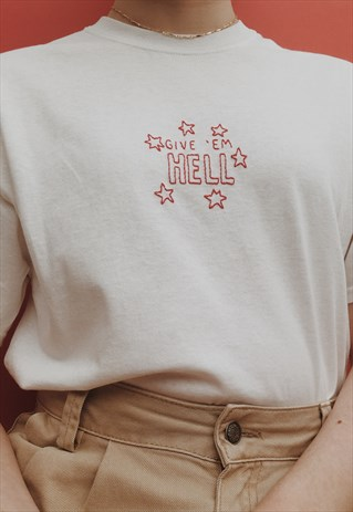 HAND EMBROIDERED ENCOURAGING QUOTE T-SHIRT
