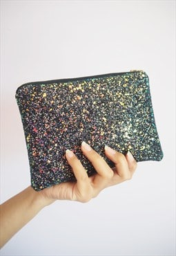 Glitter Makeup Bag in Black Iridescent