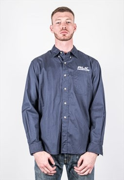 Vintage Eddie Bauer Worker Shirt in Navy Blue