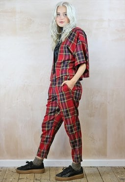 Red Tartan Crop Pants & Kimono  Co-ordinates