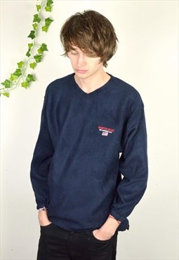 90s Vintage Hampton Beach USA V Neck Navy Fleece Jumper