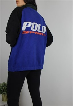 Vintage RARE Polo Ralph Lauren Fleece Jacket w Spell Out